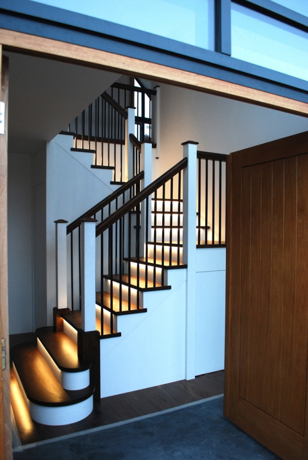 Black Walnut and Painted Tulip Wood Staircase with Black Powder Coated Balustrades