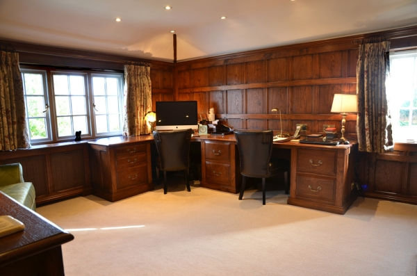 Solid Oak Panelling with Desk and Pedestal Cabinets